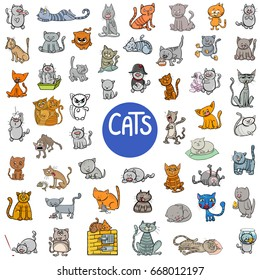 Cartoon Vector Illustration of Cats Animal Characters Big Set