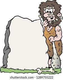 Cartoon Vector illustration of a Caveman looking at a Big Stone
