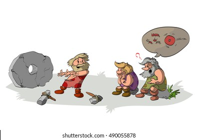 Cartoon vector illustration of a cavement inventing and presenting the wheel to his ignorant and stupid tribesmen and friends, who does not understand the aplications of the genious invention.