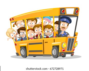 Cartoon vector illustration of cheerful school bus driver and children. Isolated on white background