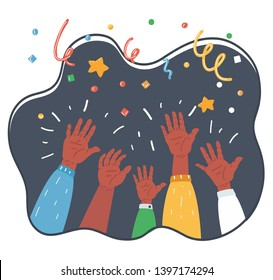 Cartoon vector illustration of Cheers! Hands up of Group of people cheering on confetti and streamers background. Holiday and celebration concept.