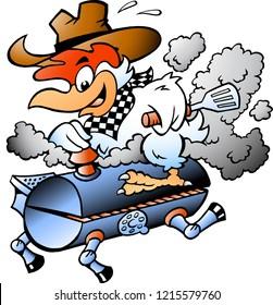 Cartoon Vector illustration of an Chicken riding a BBQ grill barrel