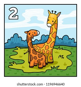 Cartoon vector illustration for children. Learn to count with animals, two giraffes