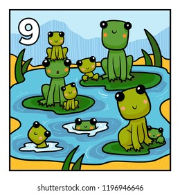 Cartoon vector illustration for children. Learn to count with animals, nine frogs