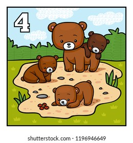 Cartoon vector illustration for children. Learn to count with animals, four bears