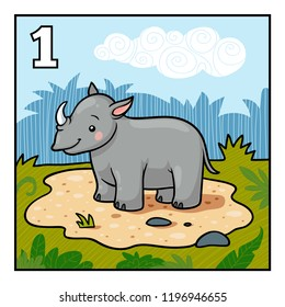 Cartoon vector illustration for children. Learn to count with animals, one rhino