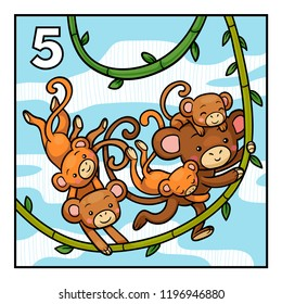 Cartoon vector illustration for children. Learn to count with animals, five monkeys