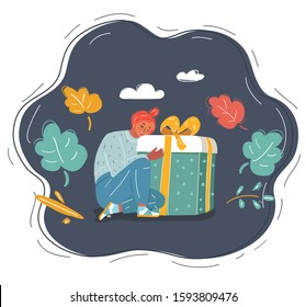 Cartoon vector illustration of Christmas big gift box and presents of young woman on dark background.