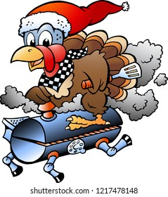 Cartoon Vector illustration of an Christmas Thanksgiving Turkey riding a BBQ grill barrel