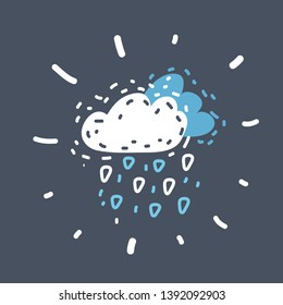 Cartoon vector illustration of cloud and hail on dark background. Funny hand drawn picture. Object on isolated.