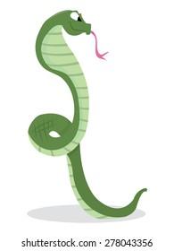 A cartoon vector illustration of cobra snake.