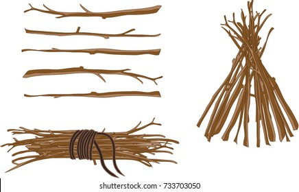 Cartoon vector illustration of collected brushwood wrapped in rope  isolated on white background