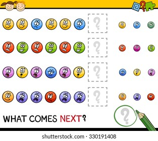 Cartoon Vector Illustration of Completing the Pattern Educational Task for Preschool Children with Emotions Signs
