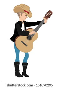 cartoon vector illustration of a country singer girl
