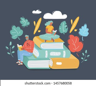 Cartoon vector illustration of couple sitting on big stack of book and reading. Human characters on dark background. Literature fans or lovers, student, education concept, fair