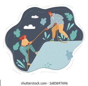 Cartoon vector illustration of couple, who climb on top of the hill.