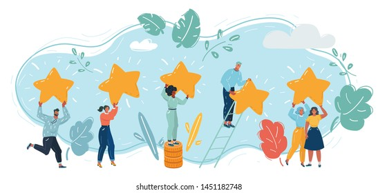 Cartoon vector illustration of of customers satisfaction review. People holding golden star in hands. Feedback, reputation and quality and rationg concept.