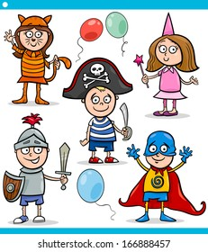 Cartoon Vector Illustration of Cute Children in Fancy Ball Costumes Characters Set