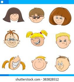 Cartoon Vector Illustration of Cute Children Faces Set