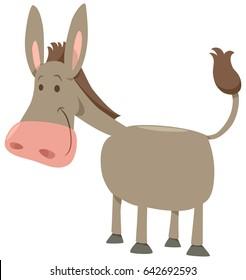 Cartoon Vector Illustration of Cute Donkey Farm Animal