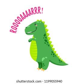 Cartoon vector illustration. Cute Doodle Dinosaur. Template for print, design