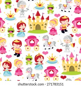 A cartoon vector illustration of cute and fun princesses, prince and knight theme seamless pattern background.