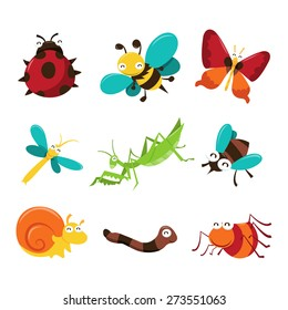 A cartoon vector illustration of cute and happy bugs and insects character icons. Included in this set:- lady bug, bee, butterfly, dragonfly, praying mantis, fly, snail, worm and spider