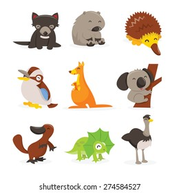 A cartoon vector illustration of cute and happy australian animals icon set like tasmanian devil, wombat, echidna, kookaburra, kangaroo, koala bar, platypus, frill neck lizard and emu.