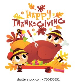 A cartoon vector illustration of cute kids dressed as pilgrims surrounding a turkey dinner with happy thanksgiving phrase.
