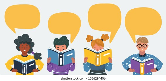 Cartoon vector illustration of Cute little children reading books. Speech bubble above.