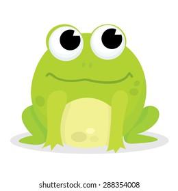 A cartoon vector illustration of a cute little green frog.