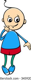 Cartoon Vector Illustration of Cute Little Boy Character