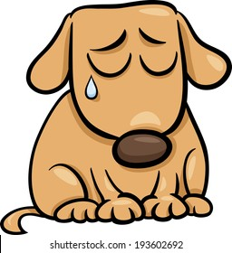 Cartoon Vector Illustration of Cute Sad Dog or Puppy