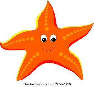 Cartoon vector Illustration of cute starfish. Sea star for summer design elements.