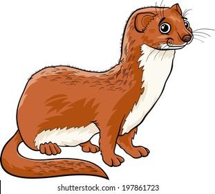Cartoon Vector Illustration of Cute Weasel Animal