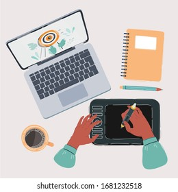 Cartoon vector illustration of designer or cg artist working place top view. Digitizer, tablet, notebook, pencil, laptop, cup of coffee, sketchbook.