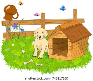 Cartoon vector illustration of dog sitting behind doghouse and clay jug on a wooden fence. Isolated, white background