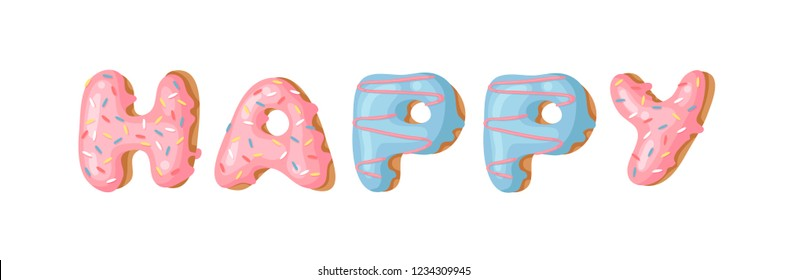 Cartoon vector illustration donut and word HAPPY. Hand drawn drawing sweet bun. Actual Creative art work bake