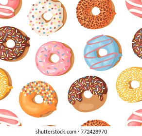 Cartoon vector illustration donuts. Hand drawn seamless pattern sweet bun. Actual Creative art work bake background