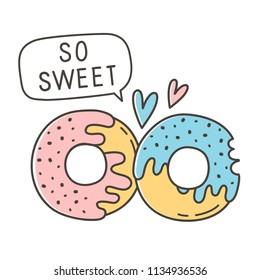 Cartoon vector illustration donuts. Sweet valentines day.