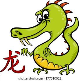 Cartoon Vector Illustration of Dragon Chinese Horoscope Zodiac Sign