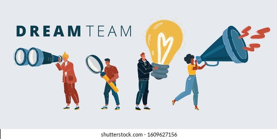 Cartoon vector illustration of Dream team concept. Different specialization People with symbol of them work. Creative, researching, looking, promotion. Binoculars, magnifying glass, bulb, megaphone.
