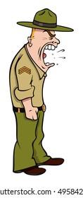 cartoon vector illustration drill sergeant