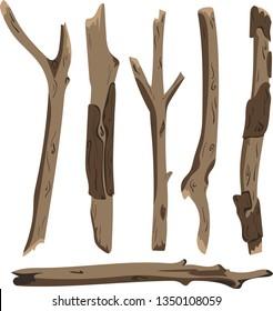 Cartoon vector illustration of dry tree brushwoods isolated on white background