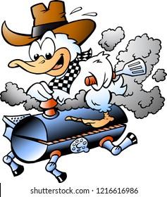 Cartoon Vector illustration of an Duck riding a BBQ grill barrel