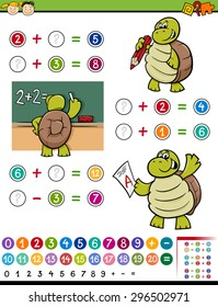 Cartoon Vector Illustration of Education Mathematical Calculating Game for Preschool Children with Turtle Character