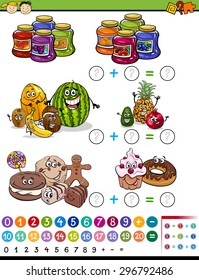 Cartoon Vector Illustration of Education Mathematical Algebra Game for Preschool Children with Fruits and Sweets