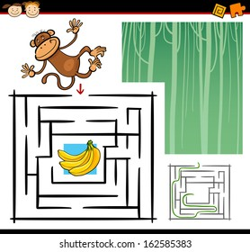 Cartoon Vector Illustration of Education Maze or Labyrinth Game for Preschool Children with Funny Monkey Wild Animal