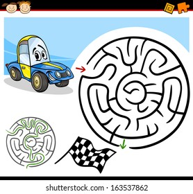Cartoon Vector Illustration of Education Maze or Labyrinth Game for Preschool Children with Funny Racing Car Character