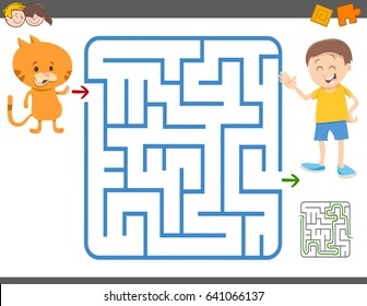 Cartoon Vector Illustration of Education Maze or Labyrinth Leisure Game with Boy and his Cat